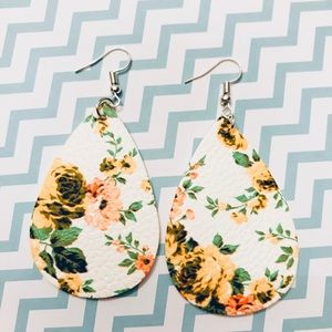 Yellow Floral Leather Drop Earrings